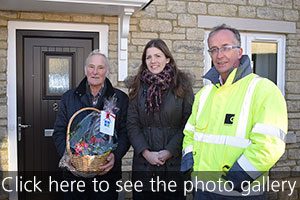 GreenSquare resident Reg Washbourne with Michelle Donelan MP and Howard Toplis